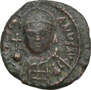 obverse: Justinian I (527-565).AE Decanummium. Rome mint, circa 547-549