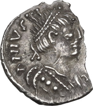 obverse: Justinian I (527-565).AR Quarter of Siliqua, Ravenna mint, c. 552-565 AD