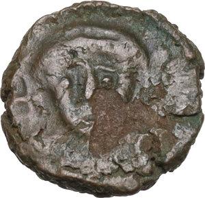 obverse: Justinian I (527-565).AE Nummus, uncertain mint