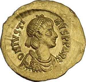obverse: Justin II (565-578).AV Tremissis, Constantinople mint
