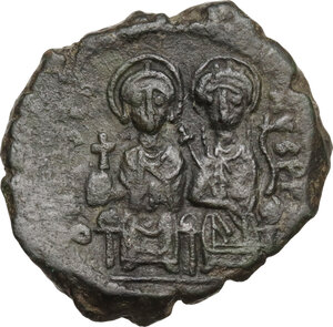 obverse: Justin II (565-578).AE Follis, Constantinople mint, RY 5 (569/70 AD)