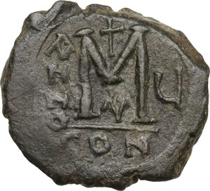 reverse: Justin II (565-578).AE Follis, Constantinople mint, RY 5 (569/70 AD)
