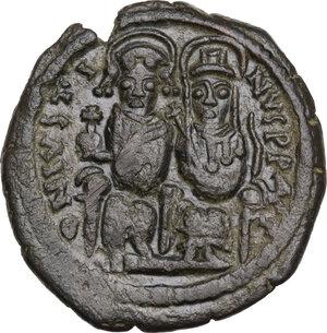 obverse: Justin II (565-578).AE Follis, Nicomedia mint, RY 9 (573/4 AD)
