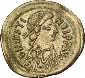 obverse: Justin II (565-578).AV Tremissis, Ravenna mint