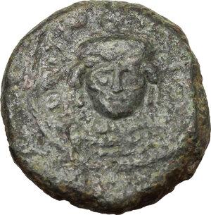 obverse: Tiberius II Constantine (578-582).AE Decanummium, Ravenna mint