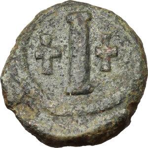 reverse: Tiberius II Constantine (578-582).AE Decanummium, Ravenna mint