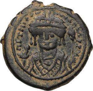 obverse: Maurice Tiberius (582-602).AE Half Follis, Constantinople mint, RY 8 (590/1 AD)