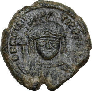 obverse: Maurice Tiberius (582-602).AE Decanummium, Catania mint, RY 20 (601/2 AD)