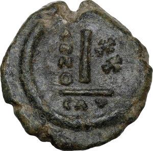 reverse: Maurice Tiberius (582-602).AE Decanummium, Catania mint, RY 20 (601/2 AD)