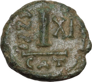 reverse: Heraclius (610-641).AE Decanummium. Catania mint. Dated RY 11 (620/1 AD)