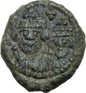 obverse: Heraclius (610-641). AE Decanummium, Catania mint, RY 16 (625/6 AD)
