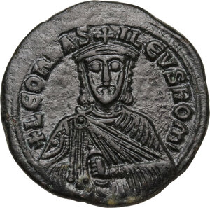 obverse: Leo VI, the Wise (886-912).AE Follis, Constantinople mint