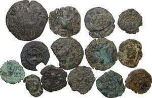 obverse: Greek Africa. Axum. Multiple lot fourteen (14) unclassified AE coins (some with center inlaid with gold)