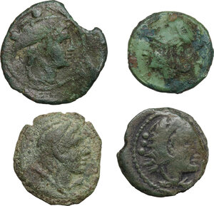 obverse: The Roman Republic. Multipe lot of four (4) AE Fractionals: Anonymous, Litra, Cr.17/a-b, P. Manlius Vulsio, Sextans, Cr.64/6a, P. Maenius Antiaticus, Quadrans, Cr.249/3, Anonymous elephant head, Quadrans, Cr. 262/4