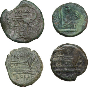 reverse: The Roman Republic. Multipe lot of four (4) AE Fractionals: Anonymous, Litra, Cr.17/a-b, P. Manlius Vulsio, Sextans, Cr.64/6a, P. Maenius Antiaticus, Quadrans, Cr.249/3, Anonymous elephant head, Quadrans, Cr. 262/4