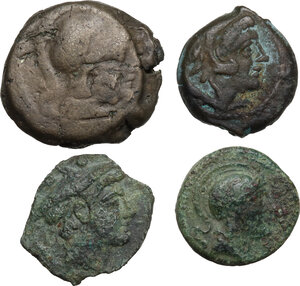 obverse: The Roman Republic. Multiple lot of four (4) unclassified AE fractionals