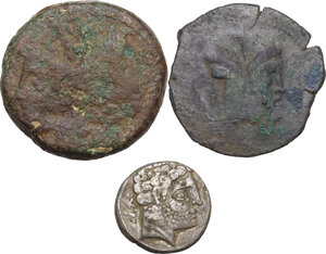 obverse: Hispania and Roman Republic. Multiple lot of three (3) unclassified coins : Hispania, Bolskan, AR (?) Denarius (ancient forgery?), L. Piso Frugi, AE As (rare), Sextus Pompeius, AE As