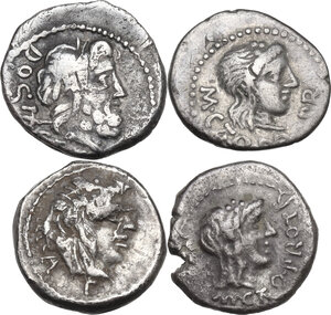 obverse: The Roman Republic. Multiple lot of four (4) unclassified AR Quinarii