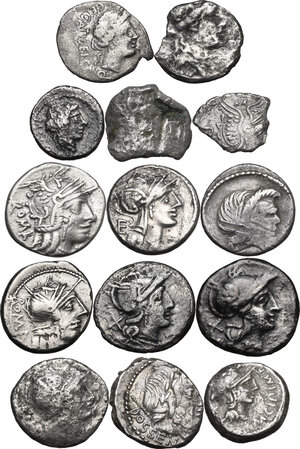 obverse: The Roman Republic. Multiple lot of fourteen (14) unclassified AR coins: all Denarii except for two Quinarii. Noted nice Fly Series Denarius