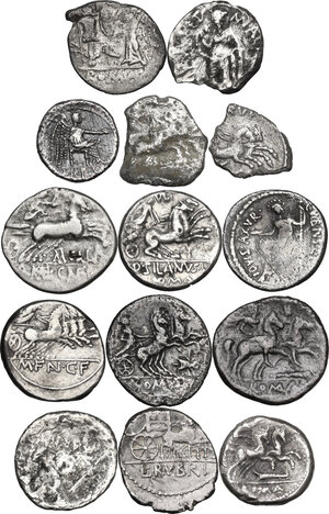 reverse: The Roman Republic. Multiple lot of fourteen (14) unclassified AR coins: all Denarii except for two Quinarii. Noted nice Fly Series Denarius