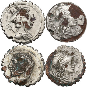 obverse: The Roman Republic. Multiple lot of four (4) unclassified Fourrée Denarii