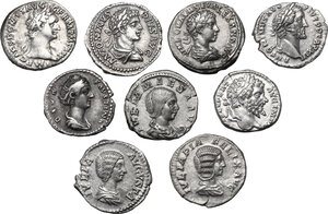 obverse: The Roman Empire. Domitian to Severus Alexander.Lot of nine (9) unclassified AR Denarii: Domitian, Antoninus Pius, Faustina I, Septimius Severus, Julia Domna (2), Elagabalus, Julia Maesa, Severus Alexander