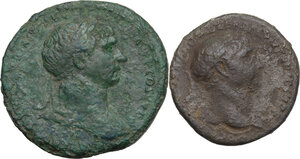 obverse: The Roman Empire . Trajan (98-117). Mutiple lot of two (2) unclassified AE coins :