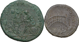 reverse: The Roman Empire . Trajan (98-117). Mutiple lot of two (2) unclassified AE coins :