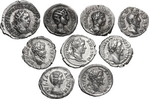 obverse: The Roman Empire. Antoninus Pius to Valerian. Lot of nine (9) unclassified coins: 8 AR Denarii: Antoninus Pius, Lucius Verus, Septimius Severus (2), Julia Domna, Elagabalus (2), Julia Mamaea and AR Antoninianus of Valerian