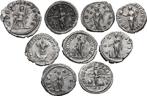 reverse: The Roman Empire. Antoninus Pius to Valerian. Lot of nine (9) unclassified coins: 8 AR Denarii: Antoninus Pius, Lucius Verus, Septimius Severus (2), Julia Domna, Elagabalus (2), Julia Mamaea and AR Antoninianus of Valerian