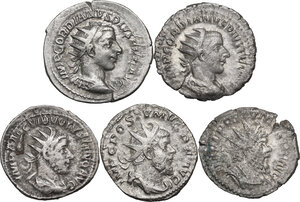obverse: The Roman Empire. Multiple lot of five (5) unclassified AR Antoniniani of Gordian III, Volusian and Postumus