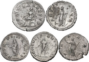 reverse: The Roman Empire. Multiple lot of five (5) unclassified AR Antoniniani of Gordian III, Volusian and Postumus