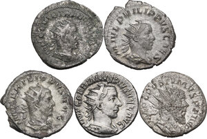 obverse: The Roman Empire.Multiple lot of five (5) unclassified AR Antoniniani of Gordian III, Philip I, Philip II, Herennius Etruscus and Postumus