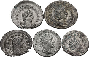obverse: The Roman Empire. Multiple lot of five (5) unclassified AR Antoniniani of Philip I. Otacilia Severa, Gallienus, Salonina and Postumus