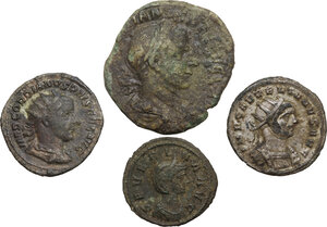 obverse: The Roman Empire. Multiple lot of four (4) unclassified AE and BI coins of 3rd century (Aurelian, Severina and Gordian III)