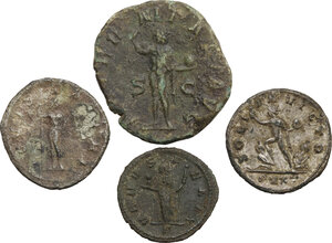 reverse: The Roman Empire. Multiple lot of four (4) unclassified AE and BI coins of 3rd century (Aurelian, Severina and Gordian III)