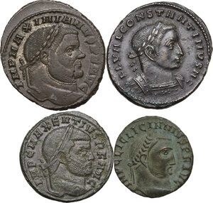 obverse: The Roman Empire . Multiple lot of four (4) AE unclassified Folles of Constantine I Caesar, Licinius I, Maximian and Maxentius