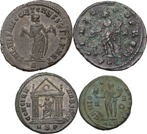 reverse: The Roman Empire . Multiple lot of four (4) AE unclassified Folles of Constantine I Caesar, Licinius I, Maximian and Maxentius