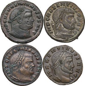 obverse: The Roman Empire . Multiple lot of four (4) AE unclassified Folles of Maximian and Maxentius