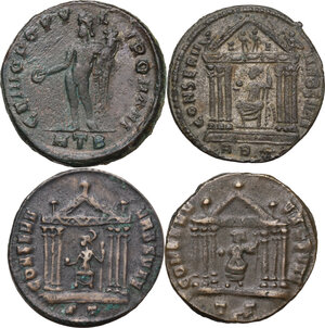 reverse: The Roman Empire . Multiple lot of four (4) AE unclassified Folles of Maximian and Maxentius