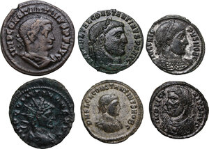 obverse: The Roman Empire. Quintillus to Constantine II.Lot of six (6) unclassified AE coins: Antoninianus of Quintillus, AE of Licinius, Constantine I (2), Crispus and Constantine II