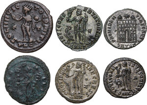 reverse: The Roman Empire. Quintillus to Constantine II.Lot of six (6) unclassified AE coins: Antoninianus of Quintillus, AE of Licinius, Constantine I (2), Crispus and Constantine II