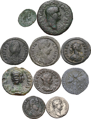 obverse: The Roman Empire.Multiple lot of nine (9) unclassified coins, in addiction PB Medieval token