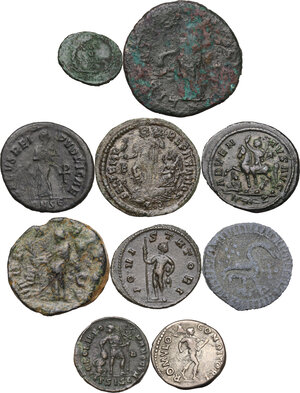 reverse: The Roman Empire.Multiple lot of nine (9) unclassified coins, in addiction PB Medieval token