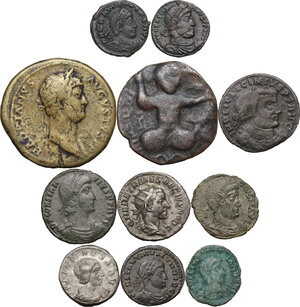obverse: The Roman Empire.Multiple lot of ten (10) unclassified coins, in addiction AE Dirhem of Husam al-Din Yuluq Arslan. (1184-1201 AD)
