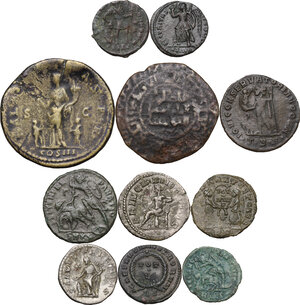 reverse: The Roman Empire.Multiple lot of ten (10) unclassified coins, in addiction AE Dirhem of Husam al-Din Yuluq Arslan. (1184-1201 AD)