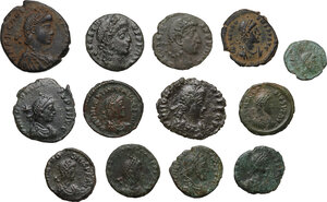 obverse: The Roman Empire. Multiple lot of thirteen (13) unclassified AE coins of the late empire