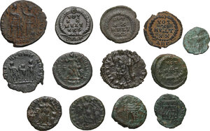 reverse: The Roman Empire. Multiple lot of thirteen (13) unclassified AE coins of the late empire