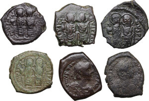 obverse: The Byzantine Empire. Multiple lot of six (6) unclassified AE coins (Halves Folles and 16 Nummi)