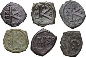reverse: The Byzantine Empire. Multiple lot of six (6) unclassified AE coins (Halves Folles and 16 Nummi)